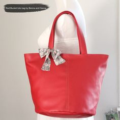 Buy Tote Bag, vegan, vinyl leather in red, bucket style, back to school by bennaandhanna.only $54. enter coupon code FREESHIP50 for free shippping. Explore more products on http://bennaandhanna.etsy.com