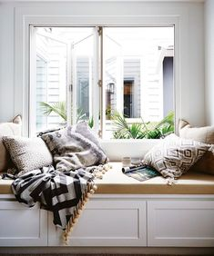 Bench Cushion For Window Seat.Cushions For Banquette And Window Seat Best Online . How To Create DIY Window Seat Cushion Decor Around The World. Home Design Ideas Cottage Renovation, Home Renovation, Bedroom Windows, Bay Windows, Wood Bedroom, Blue Bedroom, My New Room, Home And Living, New Homes