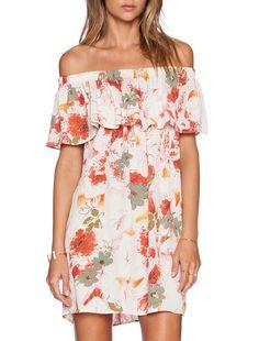 White Off The Shoulder Floral Print Dress   16.49
