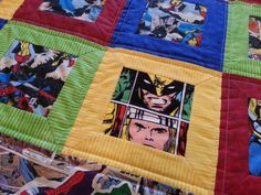 Superhero Quilt Measures 57 x 57 Throw size $100.00 or Custom Twin size Measures 70 x 90 $125.00 Beautiful Quilt!