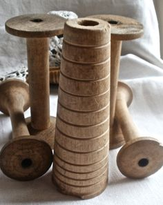 Primitive Bobbin Spools | Bobbins Collection of 5 vintage wooden textile spools