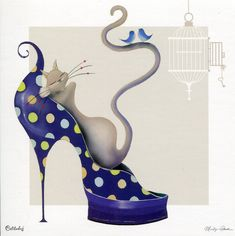Dizzy, © Marilyn Robertson, part of her Catitudes range Art And Illustration, Illustrations, Cat Shoes, Shoe Art, Cat Drawing, Crazy Cats, Animal Drawings, Cool Cats, Cat Art