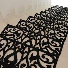 ~New Scroll Flowers Rubber Outdoor Indoor Stair Tread Mats Set of 6 Black~ck1