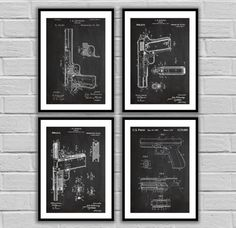 CANVAS - Pistol Patent Print Set of 4, Handgun Patent Posters, Browning Handgun, Glock, Gun Enthusiast Gifts, Vintage gun art, gun patent by STANLEYprintHOUSE  139.96 USD  We use a specially manufactured cotton blend canvas for archival printing, and high end printers to produce a stunning quality canvas that's made to last.  The printing technology used for the canvas is eco-solvent.  Our art is guaranteed to turn heads and will make a great afforda ..  https://www.etsy.com/ca/lis..