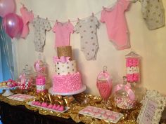 Pink and gold  Baby Shower Party Ideas   Photo 1 of 57