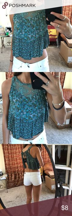 floral open back top love this top and adds color to any outfit. no flaws at all :) not urban outfitters, just tagged for views Urban Outfitters Tops