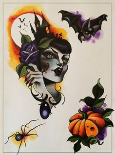 Darkness by Candy Cane Halloween Witch Vampire Bats Canvas Art. Like the water paint background