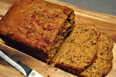 Pumpkin bread with Greek Yogurt (i also nixed the oil and added unsweetened applesauce instead)