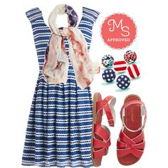 In this outfit: American Cutie Dress, Glam That I Love Scarf, Arty in the USA Earring Set, Outer Bank on it Sandal in Red #4thofJuly #redwhiteandblue #USA #flag #sandals