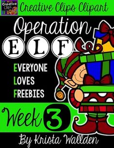 Happy Holidays from Creative Clips Clipart!!! I'm thrilled to bring you WEEK THREE of my holiday freebie series! This year is a little different than my freebies last year. I am calling it Operation E.L.F. (Everyone. Loves. Freebies)! Get it?  In addition to receiving new, free clipart goodies each week until Christmas, I have also created a SELFLESS CHALLENGE!!