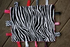 Baby girl zebra mini blanket with ribbons and by littlebubbys, $6.95