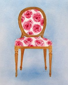 watercolor french chair giclee print 8 x 10 by carolsapp on Etsy, $18.00