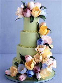 Cascade of tulips wedding cakes