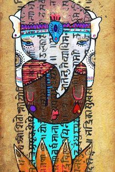 Aline Tercete, Sonho de Elefante ilustração aquarela e porpurina sobre manuscrito religioso tibetano inspirado na viagem da artista à Índia, nas suas antigas técnicas de pintura e na história da vida de Buda que começa com sua mãe, gravida dele, que sonha com um elefante branco.