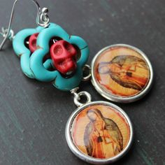 Frida Kahlo Day of the Dead Sugar Skull Earrings by VivaGailBeads Sugar Skull Earrings, Blue Cross, Halloween Jewelry, Day Of The Dead, Beautiful Things, Jewlery, Pendant Necklace, Handmade, Stuff To Buy