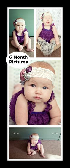 6 month baby girl pictures! Purple romper and lace headband.