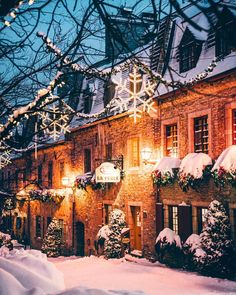 Beautiful photo of Lower Quebec City at night during the holidays