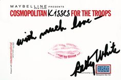 Betty White #kissesforthetroops Submit your virtual kiss at Cosmopolitan.com/kisses & we'll donate a dollar to USO!
