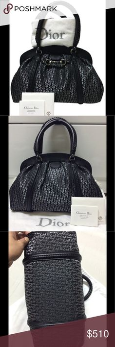 """Dior MY DIOR Jacquard Logo Canvas Leather Satchel SIZE: approx. 10"""" Ht. x 13"""" L x 5"""" W, 6"""" (handle drop)                                   MATERIAL: Leather trim, Dior Canvas, nylon lining, Silver tone hardwares DATE CODE: 02RU0097 CONDITION: Slightly used ~ intact & clean in/out, hardwares intact w/ mild wear, zip works, handles intact/strong, handle bottom trim edges w/ mild wear (see pic), mild wear all over (rubs/scuffs/creases). Pls. assume """"normal used odor"""" as item is not new. W/ dust…"""