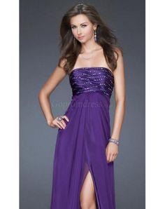 Glamorous Strapless Beaded Bodice high Front Split long Prom Dress