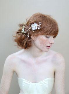Bridal hair flowers silk flowers Double flower by myrakim on Etsy