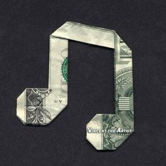 Money Origami MUSIC NOTE - Dollar Bill Art - Made with real $1 Cold Cash - Origami