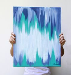 abstract art - 16x20 original canvas painting in teal, indigo, and white by christen strang