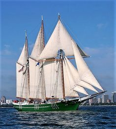 """""""DENIS SULLIVAN"""" is a (137') 3-Masted, Wooden, Gaff Rigged Schooner - Built in 2000 - She is a Flagship of both the State of Wisconsin and of the United Nations Environment Program – Used as a Education/Sail Training/Tourist Vessel"""