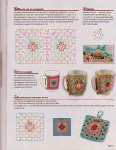 If you cannot read spanish, this is for the more advanced crocheter. You will have to read a diagram and put the cozy together by looking at the picture. Crochet Coffee Cozy, Crochet Cozy, Crochet Motifs, Crochet Dishcloths, Crochet Granny, Crochet Gifts, Crochet Patterns, Granny Square Projects, Crochet Square Blanket
