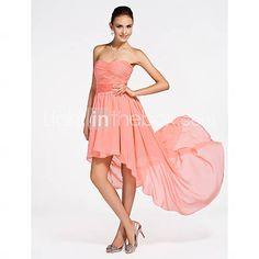 [USD $ 96.99] A-line Strapless Asymmetrical Chiffon Bridesmaid Dress