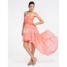 [USD $ 97.99] A-line Strapless Asymmetrical Chiffon Bridesmaid Dress