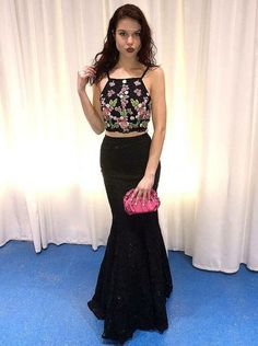 Charming Two Piece Evening Dress Spaghetti Straps Long Black Lace Prom  Dress Two Piece Evening Dresses 3d6f99d2a768