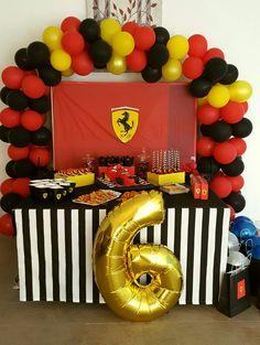 Ferrari party ideas Race Car Birthday, Race Car Party, Cars Birthday Parties, 2nd Birthday, Ferrari Party, Adult Party Decorations, James 10, Backdrops For Parties, Birthdays