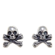 King Baby Jewelry Sterling Silver Skull and Crossbones Stud Earrings