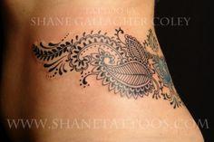 Koru Tattoo Mehndi Inspired Hip Waist Tattoo