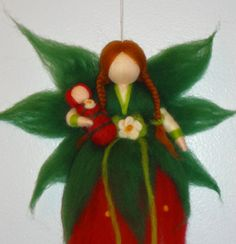 Needle Felted Fairy, Strawberry Flower Fairy, Red Summer Fairy, Waldorf doll, Angel, Blessing, Magic Wool on Etsy, $30.00