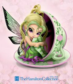 Tiny Cu-tea Figurine, First-ever fantasy art teacup fairy figurine by Jasmine Becket-Griffith. Handcrafted with glitter accents and pearlescent paint. Limited edition!