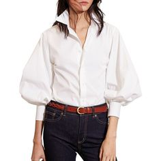 Lauren Ralph Lauren Bishop Sleeve Cotton Shirt ($67) ❤ liked on Polyvore featuring tops, white, button front shirt, button front top, slim fit button down shirts, white cotton tops and 3/4 sleeve shirts