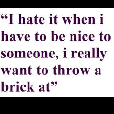 I hate it when i have to be nice to someone i really want to throw a brick at!