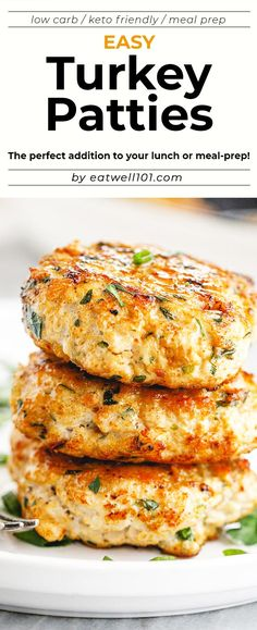 Easy Turkey Patties Recipe – These easy turkey patties make the perfect protein addition to your lunch or meal-prep! Ground Turkey Meal Prep, Healthy Ground Turkey, Ground Turkey Recipes, Minced Turkey Recipes, Turkey Prep, Easy Meal Prep, Healthy Meal Prep, Easy Meals, Healthy Lunches