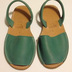 S'AVAM  MD in Menorca Alpargatas Sandals Sage Blue Worn only to try on . Brand New Real Leather Alpargatas from Menorca , Spain . Sage Blue Green Color . These sandals are HANDMADE with recycled rubber soles and real genuine leather. Imported from Menorca Savam  Shoes Sandals