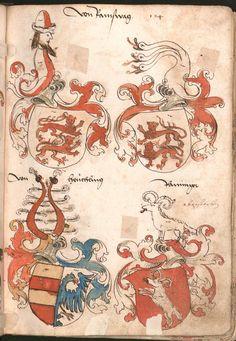 Wernigeroder (Schaffhausensches) Wappenbuch Süddeutschland, 4. Viertel 15. Jh. Cod.icon. 308 n  Folio 124r