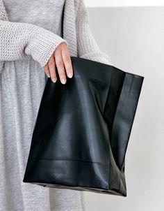 black leather paper bag