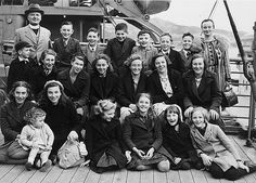 Children's Overseas Reception Board (CORB) group bound for New Zealand. At the outbreak of World War Two, thousands of British children were sent to the Dominions (Canada, Australia, New Zealand and South Africa) before attacks on shipping prematurely ended the scheme. 1940.