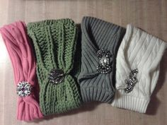 One-of-a-kind repurposed sweater headwraps with rhinestone embellishments