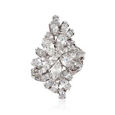 5.35 ct. t.w. CZ Floral Cluster Ring in Sterling Silver