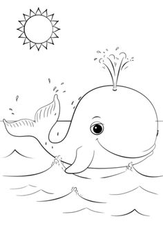 Cute Cartoon Whale Coloring Page From Category Select 24898 Printable Crafts Of