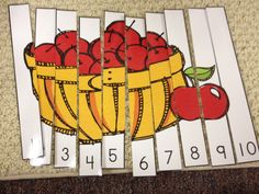 Mrs. Hodge has some super simple apple activities here. My kidlets are just learning 1-10 recognition in October. These picture / number puzzles are great. I print in B/W and then shade with chalk pastels for quick, cheap colouring.