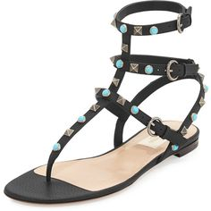 Valentino Rockstud Leather Flat Gladiator Sandal ($1,225) ❤ liked on Polyvore featuring shoes, sandals, flip flops, flat gladiator sandals, roman sandals, black leather flats, valentino flats and gladiator sandals