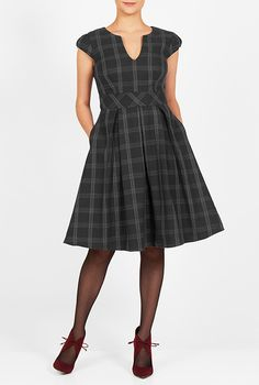 I <3 this Windowpane check notch neck dress from eShakti